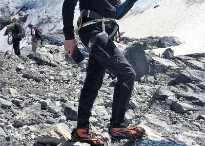 Matteo all'attacco del ghiacciaio