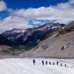 Scendendo per il ghiacciaio