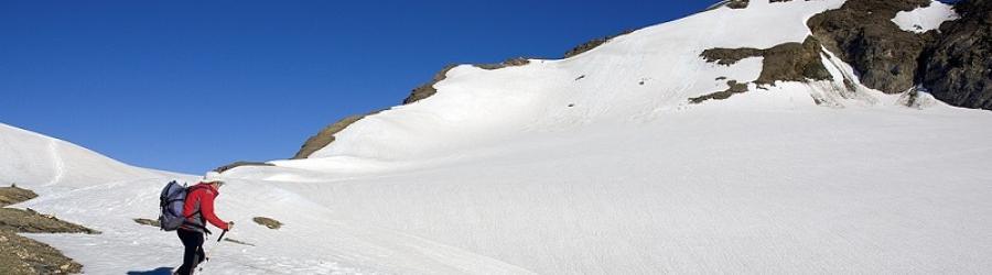 A sinistra cresta di salita al Blinnenhorn (foto scattata ad inizio luglio)
